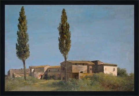 """Bild mit Rahmen: Pierre-Henri de Valenciennes, """"Fabrique a la villa Farnese: les deux peupliers."""", 68 x 45 - Holz Fortuna L: Schwarz matt"""
