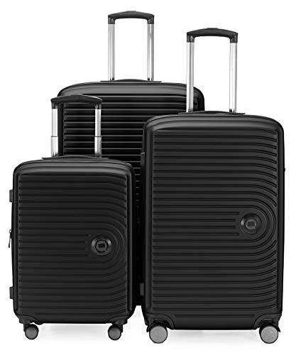 HAUPTSTADTKOFFER - Mitte - Set di 3 valigie - bagaglio a mano da 55 cm, valigia media da 68 cm, valigia grande da 77 cm, in ABS rigido, TSA, Nero