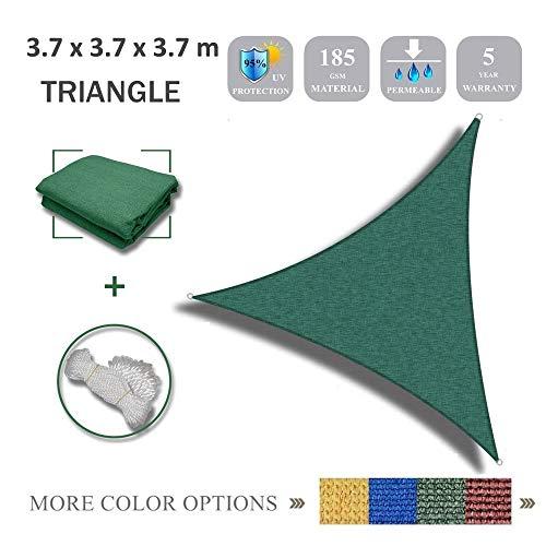 Gardenexpert Tenda Parasole, con Copertura a Vela, Ideale per Esterni, Giardino, Cortile e Feste, di Forma Triangolare e Colore Verde, 3,7 x 3,7 x 3,7 m