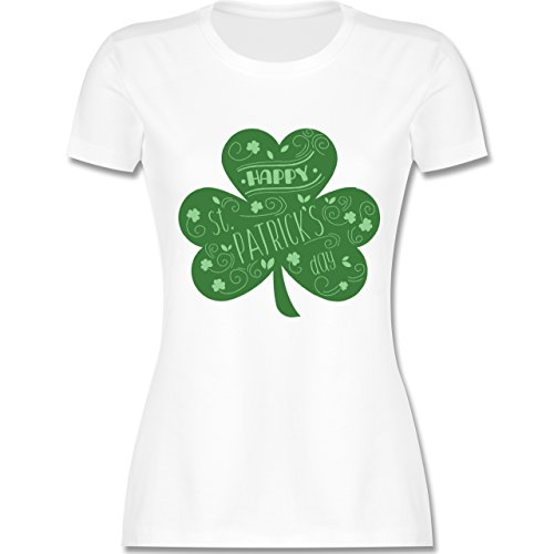 Shirtracer St. Patricks Day - Happy St. Patricks Day Kleeblatt - Damen T-Shirt Rundhals Weiß