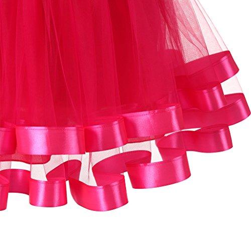 Ellames Damen 1950er Jahre Vintage Tutu Petticoat Rock Prom Abend Gelegenheit Zubehör Fuchsie