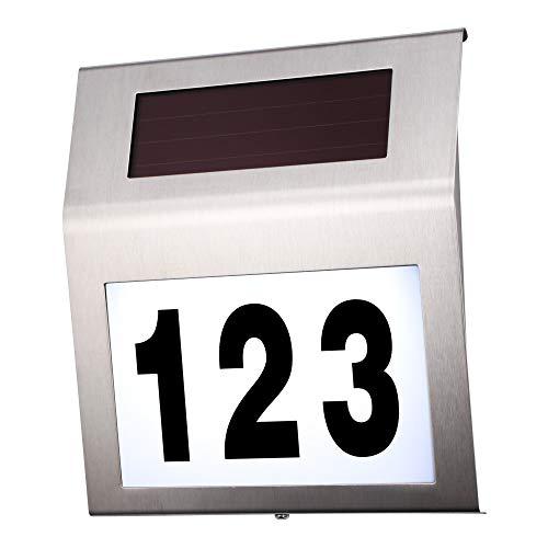 cofemy Hausnummern solarbetriebenes LED-Adressen-Licht für Häuser, automatisches umweltfreundliches Licht des Adressen-Zeichen-Edelstahls im Freien für Yard Street (Zeichen Adresse Für Häuser)