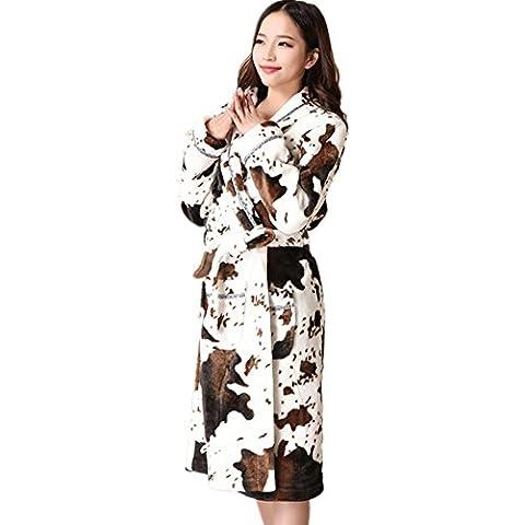DMMSS Mujeres Coral Fleece traje largo pijama franela albornoz espesado en el otoño y el invierno ropa camisones , 175