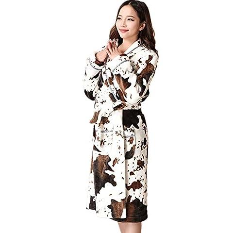 DMMSS Femmes Coral Fleece Robe longue pyjama peignoir de flanelle épaissi à l'automne et l'hiver vêtements robes de nuit , 180 (xxl)