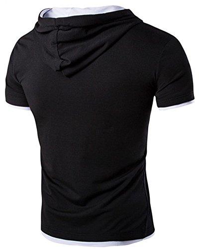 Poloshirt Hemd Herren Kurzarm Slimfit Polo Hoodie Hooded T-Shirt Schwarz Weiß