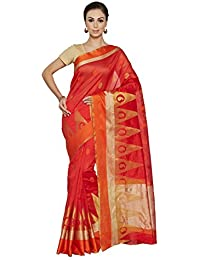 Viva N Diva Orange Banarasi Art Silk Saree With Unstitched Blouse Piece