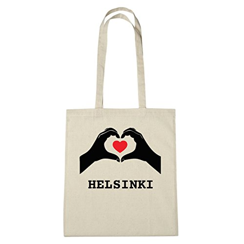 JOllify Helsinki di cotone felpato b4663 schwarz: New York, London, Paris, Tokyo natur: Hände Herz