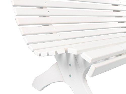 Trendy-Home24 stabile ergonomische große Sitzbank Parkbank Holzbank Gartenbank 140 cm breit (Weiß) - 6