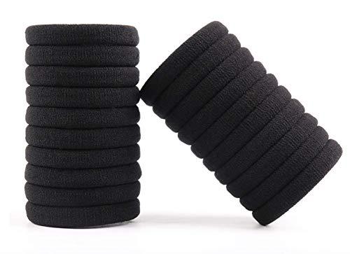 24 pezzi elastici per capelli neri grandi in cotone ideali per uso quotidiano. fermacoda lacci per donna uomo ragazza bambina