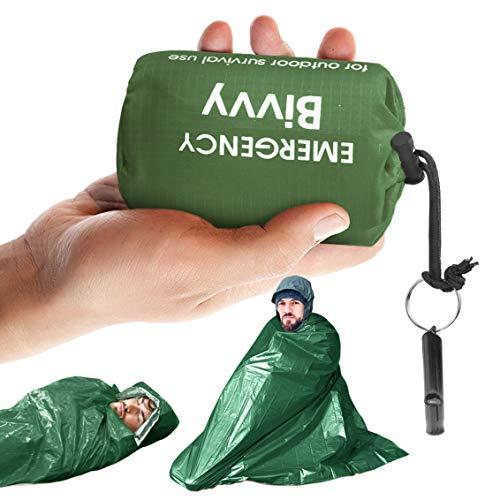 Idefair Notschlafsack mit Überlebenspfeife Wasserdichter leichter Überlebensanzug Deckenbeutel mit Ü