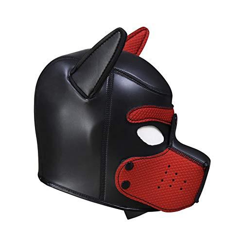 Reasoncool Cosplay Rollenspiel Hund Vollkopfmaske Gepolsterte Weich Rubber Hündchen Spiel Maske Sexy Spielzeuge Rot