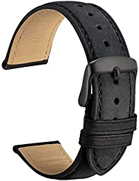 WOCCI 22mm Vintage Correa de Cuero con Hebilla Negra, Correas de Repuesto (Negro)