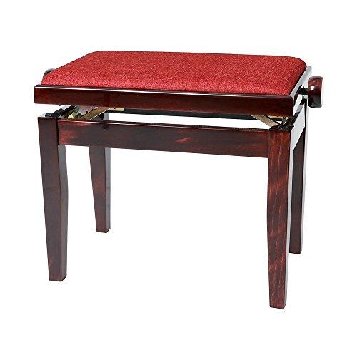 Gewa Pianobank Deluxe (Sitzfläche mit rotem Velour, Bruchlast über 2 Tonnen, große und bequeme Sitzfläche, Leichtgängige Höhenverstellung, edles Design und hochertige Verarbeitung) mahagoni matt -