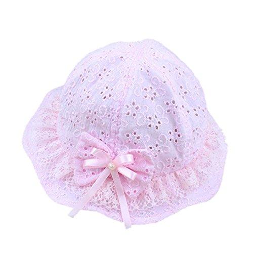 TININNA Chapeau de Soleil d'été Trous de Fleur Papillon à Perle Bébé Enfant Bonnet Casquette à Nouer Photographie Fille Rose