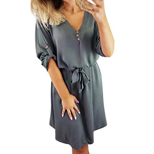 KIMODO Damen Kleid Sommer Kurzarm Halbes Hülsenkleid Sommerkleid Kleider Mode 2019 (Grau, Medium) -