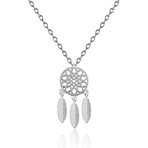 lureme® 925 Sterling Silver Dangling Feather Charms Filigree Tribal Dreamcatcher Pendant Chain Necklace