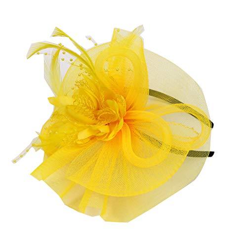 Cerchietto con piuma di capelli e cappello partito festa donne sposa fascinator per accessori di cerimonia nuziale del cocktail (giallo)