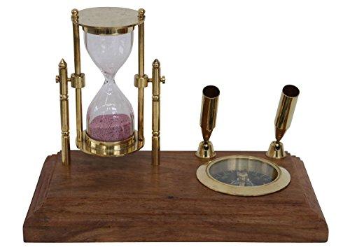Stiftehalter Schreibtisch Kompass Sanduhr Schiff Maritim Nautik Antik-Stil