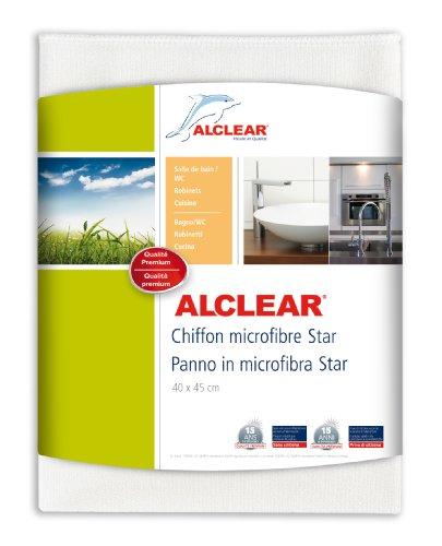 ALCLEAR Microfasertuch Star Spezialtuch, entfernt Kalkränder ohne Chemie, 40x45 cm weiss, feinste Tuchstruktur
