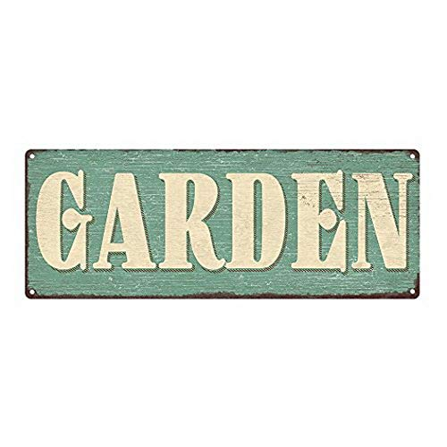 Harvesthouse Garden Metal Sign, 6 x16, Spring, Garden, Flowers, Growing, Retro, Rustic, Home Decor by -