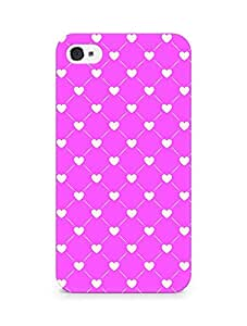 Amez designer printed 3d premium high quality back case cover for Apple iPhone 4s (Romantic Pink Color Hearts5)