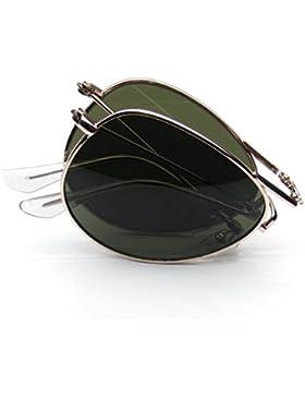 Emblem Eyewear - Plegable De Bolsillo Metal Aviator Gafas De Sol
