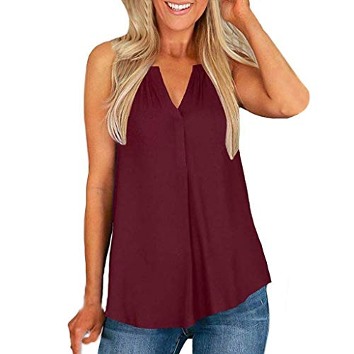 (Zegeey Damen Tank Tops äRmelloses T-Shirt V-Ausschnitt Schulterfrei Einfarbig Oberteil Blusen Shirts GroßE GrößEn LäSsige Lose(rot,EU-46/CN-4XL))