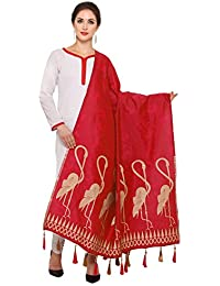 Red And Golden Banarasi Dupatta With Crane Bird Design