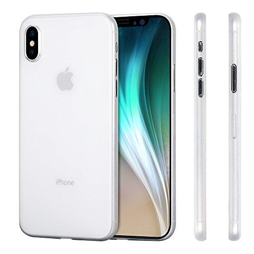 memumi Hülle für iPhone X, Mehrweg Schlankes Extra Dünn Hardcase [0.3mm Halb Transparent] Anti-Fingerabdruck, FeinMatt Federleicht Schutzhülle kompatibel mit iPhone 10 / X Case - Weiß