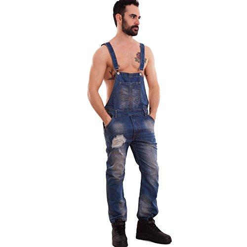 Toocool - Salopette uomo jeans overall tuta intera denim strappi casual slim cotone L212 [46,blu]