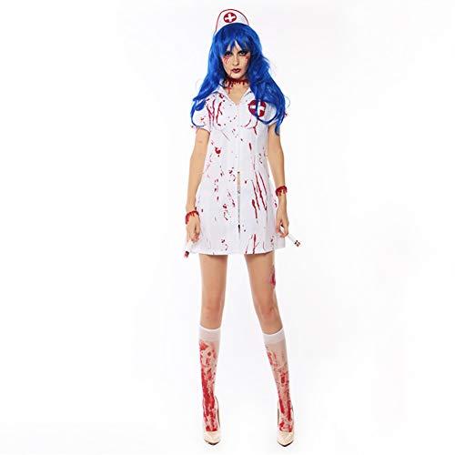 ChYoung Halloween Krankenschwester Anzüge mit Masken Halloween Cosplay Vampire Stage Performance Party Kostüme (Vampir Krankenschwester Kostüm)