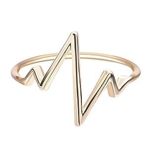 Fengteng Liebe Herzschlag Ring für Frauen und Männer Abstrakt Kunst die Wellenform Einfache Stil Fingerring Schmuck
