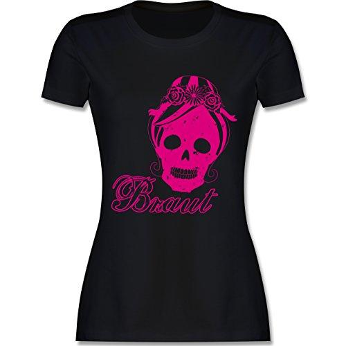 Shirtracer JGA Junggesellinnenabschied - Braut Totenkopf Vintage - Damen T-Shirt Rundhals Schwarz