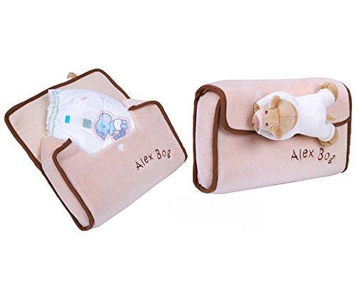 Preisvergleich Produktbild Baby Plüsch Windeltasche mit Bärchen Beige 16 x 30x 11 cm