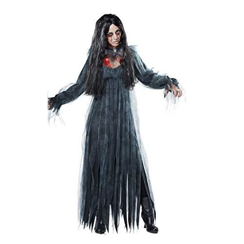Zombie Braut Kostüm Halloween Cosplay Kleider Piebo Damen Langarm Kleid Lang Dress Horror Vampir Teufel Brautkleid mit Tüll Weihnachten Oktoberfest Festliche Fasching Karneval Partykleid Schwarz (Pin Up Zombie Kostüm)