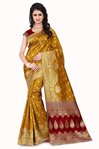 Sarees (Women's Yellow & Red Banarasi Silk Saree with Blouse Piece Banarasi...
