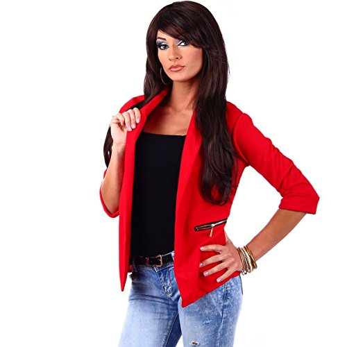 10744 Fashion4Young Damen Kurzjacke Blazer Jäckchen Jacke knopflos mit Reverse Gr.36/38 (S/M=36/38, Rot) (Femininer Blazer)