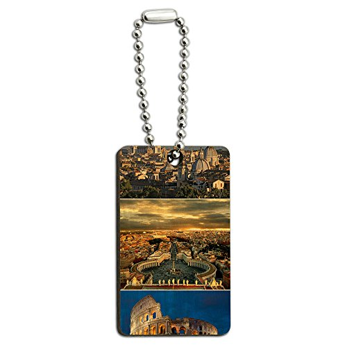 City of Rome Italy - Colloseum - Saint Peters Square Wood Wooden Rectangle Key Chain