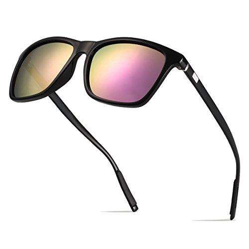 BOYOU Polarizado Wayfarer Gafas de Sol Aviador Mujer Hombre Retro Vintage Al-Mg Metal Super Ligero Marco