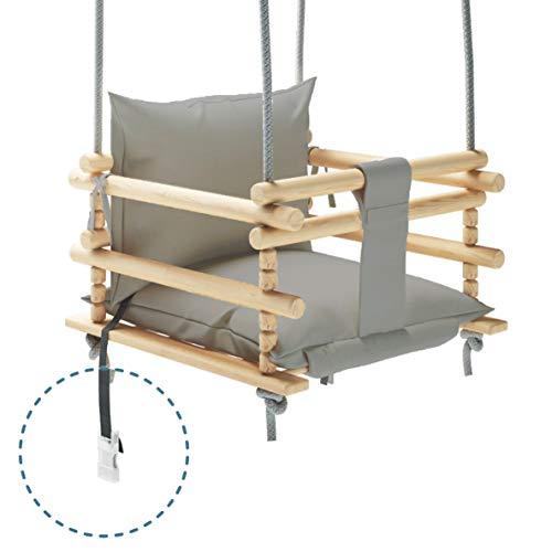 MAMOI Kinderschaukel Schaukel für Kinder Schaukel 3 in 1 + SICHERHEITSGURT, Kleinkindschaukel, Baby schaukel und Schaukelsitz, Kinder schaukel Holz