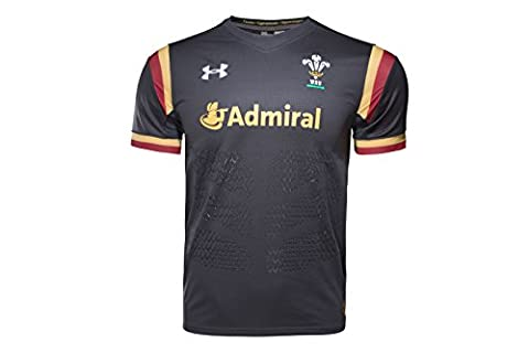Wales WRU 2016/17 Alternate Replica Rugby Shirt - Anthracite/Red/Gold - size S