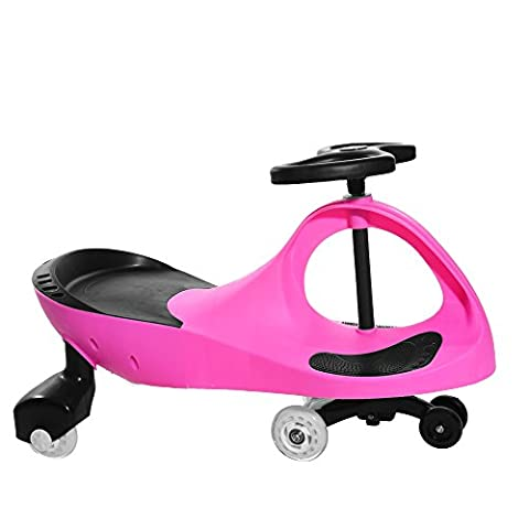 Panana New Kids Swing Car Ride On Swivel Scooter Wiggle Gyro Twist & Go Kids Ride On Car (Pink)