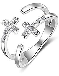 Shawa Femme Bague en Argent 925 Réglable d ouverture Géométrie Double Croix Anneaux  multiples Bagues et Zirconium Cadeau… b1e2becea9aa
