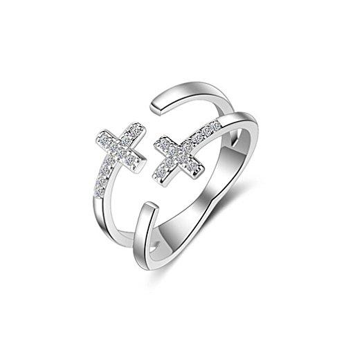 Shawa Femme Bague en Argent 925 Réglable d'ouverture Géométrie Double Croix Anneaux multiples Bagues et Zirconium Cadeau pour Anniversaire, Mariage, Fête