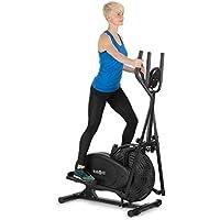 Klarfit Orbifit Advanced • Máquina de Correr elíptica • Bicicleta elíptica • Pulsómetro • Altura Regulable • Estructura de Acero • Agarre Acolchado • Pedales Antideslizantes • hasta 100 kg • Negro