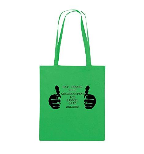 Comedy Bags - HAT JEMAND NOCH ARSCHKARTEN - Jutebeutel - lange Henkel - 38x42cm - Farbe: Schwarz / Pink Grün / Schwarz