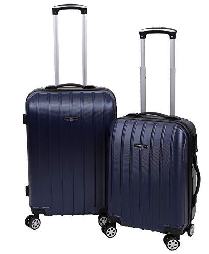Betz 2 TLG. Reisekoffer Set Hartschalen Koffer Handgepäck Teleskop Trolley Boardcase mit TSA Schloss und Leichtlaufrollen Farbe Blau