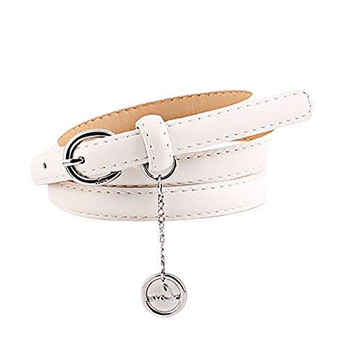 Vintage Rund Metall Schnalle Kleidgürtel Damen Elegant Verstellbarer Taillengürtel mit Anhänger Mode Frauen PU Leder Dornschließe Gürtel Hüftgürtel Kunstleder Jeansgürtel Belt 130cm (Weiß) - Weiße Schleife Münze