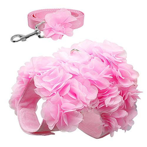 GOUSHENG-Leash Rosa Flor Transpirable Arnés Para