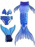 Meerjungfrauenschwanz Zum Schwimmen mit Meerjungfrau Flosse 4pcs Bikini Meerjungfrau Schwimmanzug Badeanzüge Kostüm für Kinder Mädchen